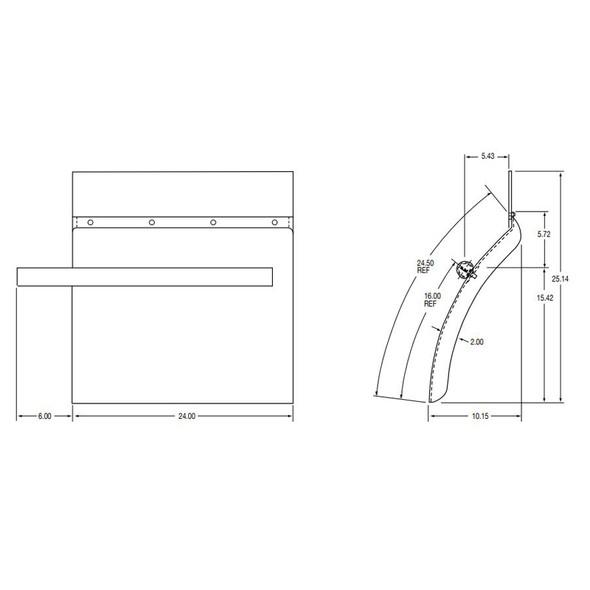 XT-Series Cross Tube XTP-24 Poly Quarter Fenders - Dimensions