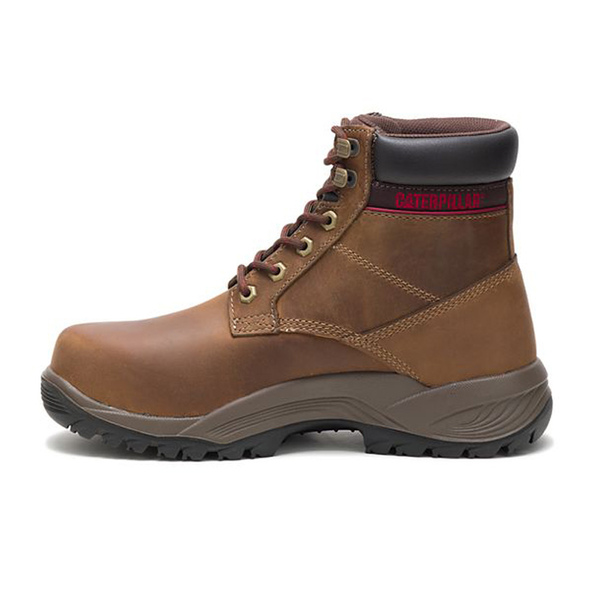 "Womens Dryverse 6"" Waterproof Steel Toe Trucker CAT Work Boots Left View"