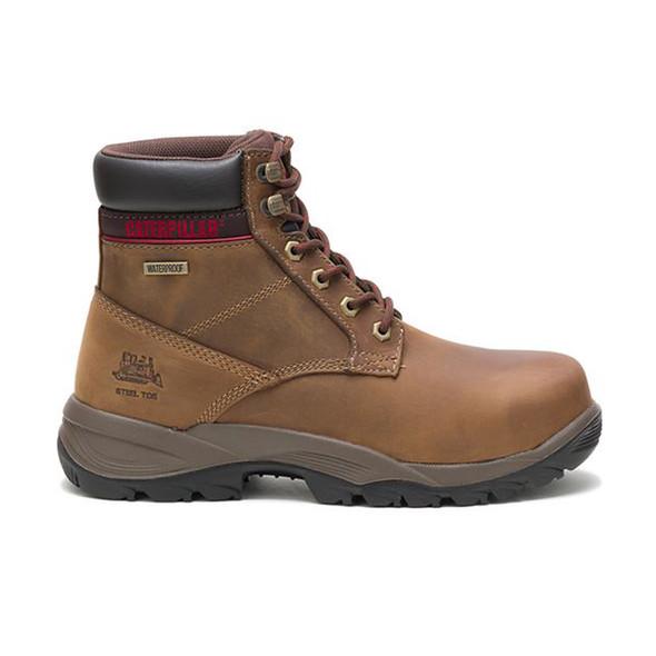 """Womens Dryverse 6"""" Waterproof Steel Toe Trucker CAT Work Boots Right View"""