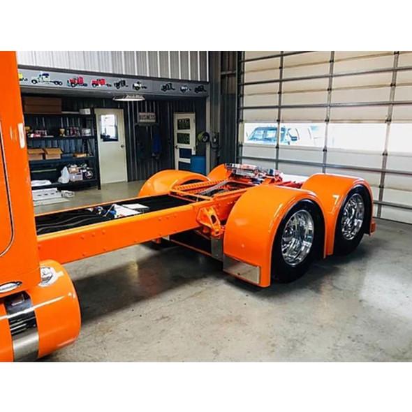 Lower Fender External Stainless Steel Molded Bracket - On Orange Truck