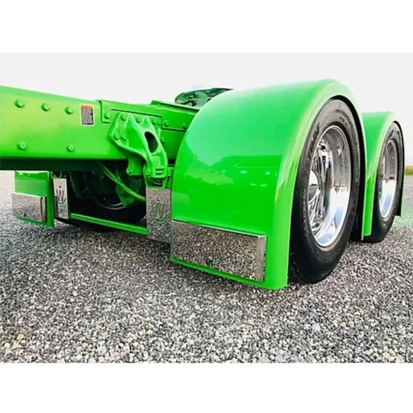 Lower Fender External Stainless Steel Molded Bracket - On Green Truck