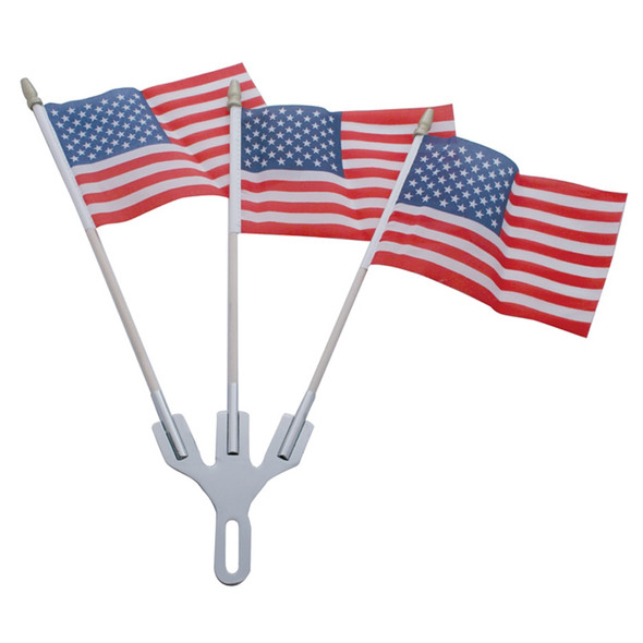 Stainless Steel 3 Post Flag Holder - Shown With Flags
