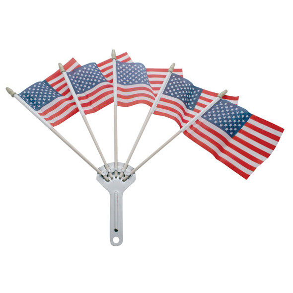 Stainless Steel 5 Post Flag Holder - Shown With Flags