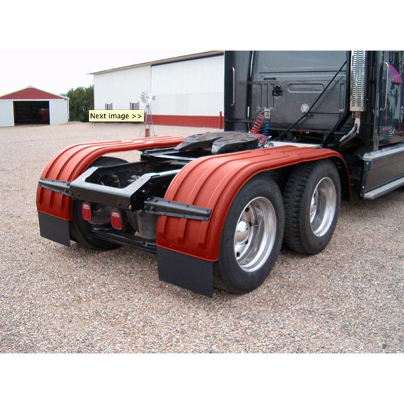 Minimizer Poly Truck Fenders Tandem Axle Red The Brute 900 Series (Installed)