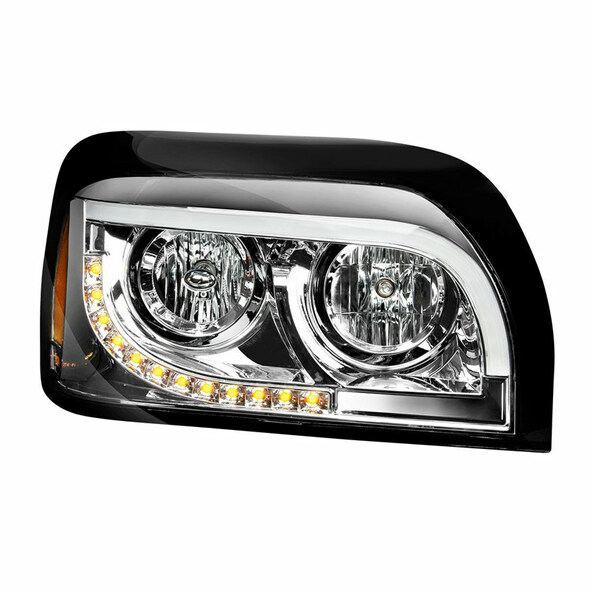Freightliner Century Halogen Chrome Headlight With White LED DRL And Turn Signal - Passenger Side