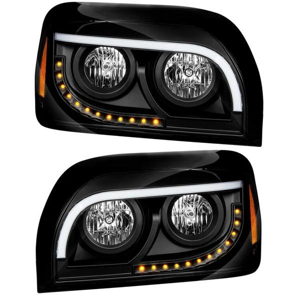 Freightliner Century Halogen Black Headlight Both Sides