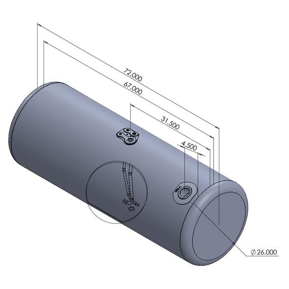 Peterbilt Aluminum Replacement Driver Side 150 Gallon Fuel Tank Dimensions