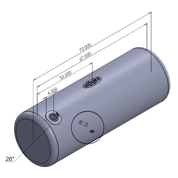 Peterbilt Aluminum Replacement Passenger Side 150 Gallon Fuel Tank Dimensions