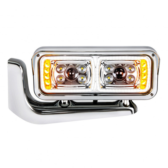 Peterbilt Chrome LED Projection Headlight With Mounting Arm - Passengers Side Front View