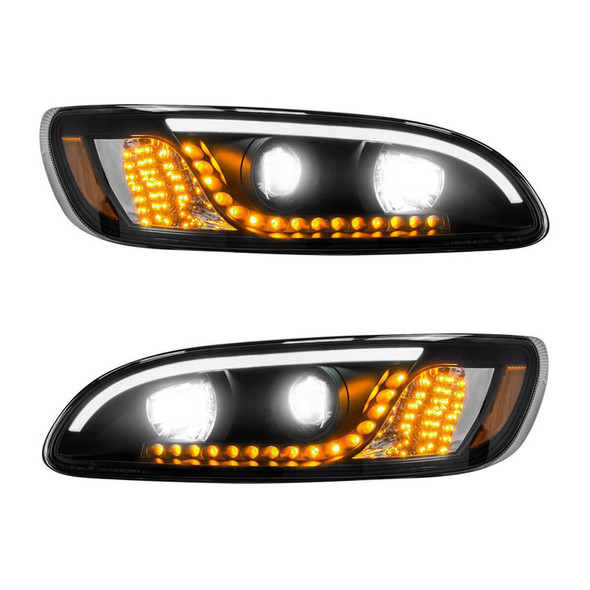 Peterbilt 386 387 330 335 382 384 Blackout Headlight With White LED DRL And Turn Signal - LED