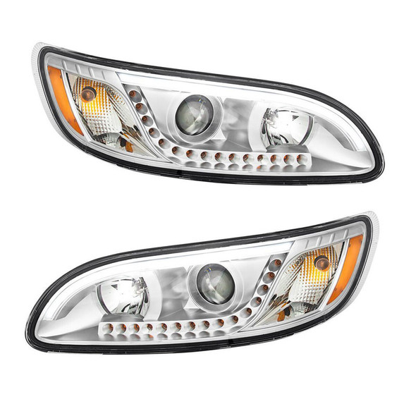 Peterbilt 386 387 330 335 382 384 Chrome Headlight With White LED DRL And Turn Signal With White LED On