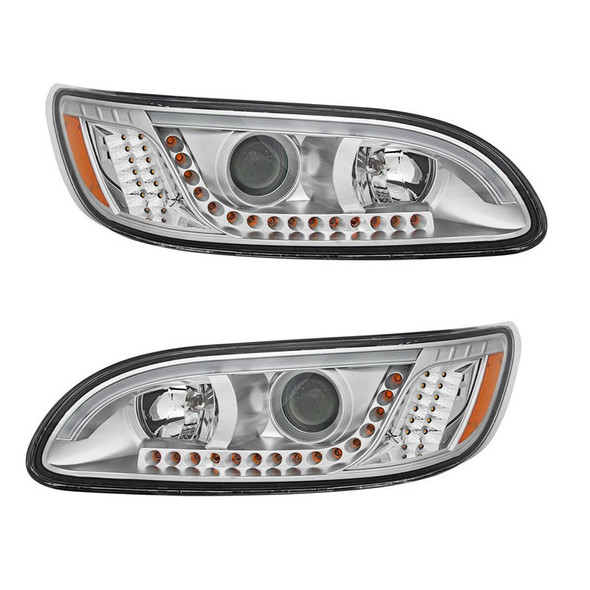 Peterbilt 386 387 330 335 382 384 Chrome Headlight With White LED DRL And Turn Signal