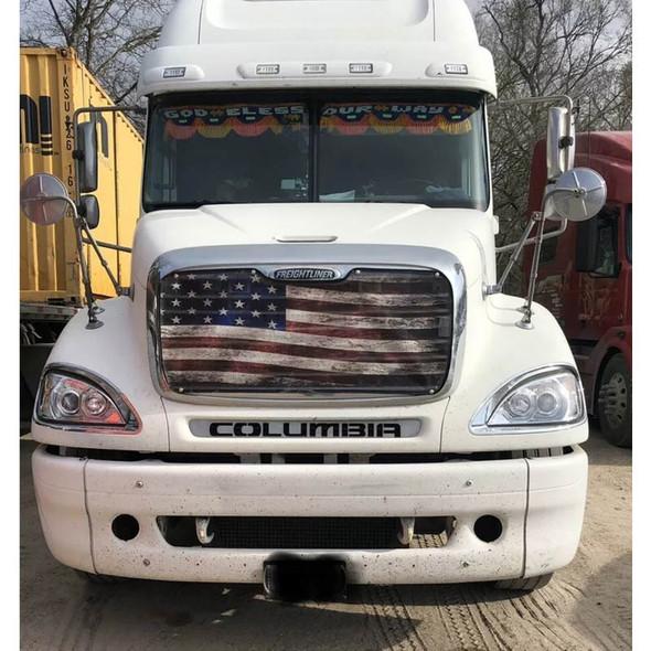 Freightliner Columbia Old Glory Flag Premium Bug Screen On Truck