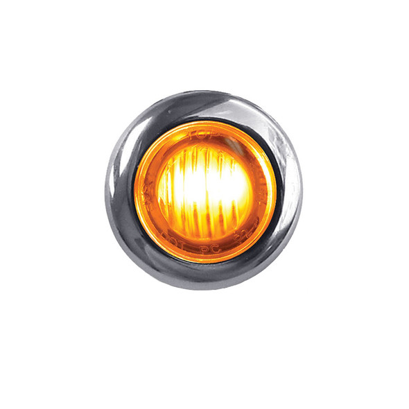 """3/4"""" Clearance Marker Light With Bezel 3 Amber LED Diodes"""