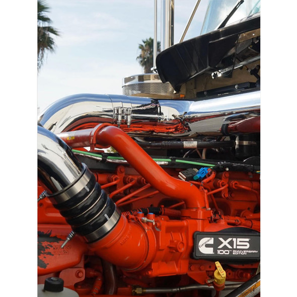 Peterbilt 379 Chrome Air Intake Kit - On Truck Close Up