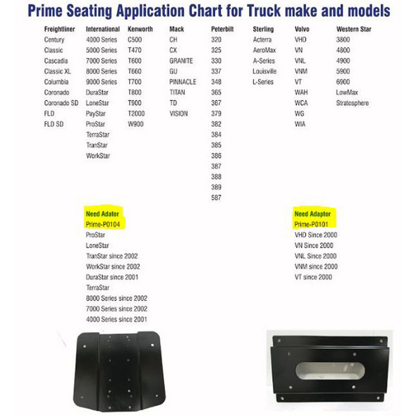 Prime TC200 Series Air Ride Suspension Cloth Truck Seat Adapter With Arm Rests Chart
