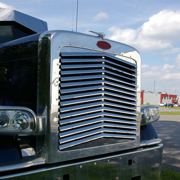 Peterbilt 389 Stainless Steel Angled Louvered Replacement Grill On Truck Side View