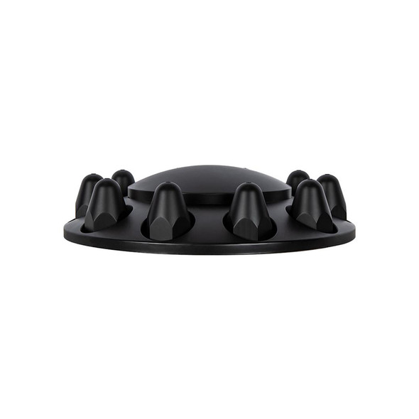 Matte Black Dome Front Axle Cover With Removable Hubcap Side View