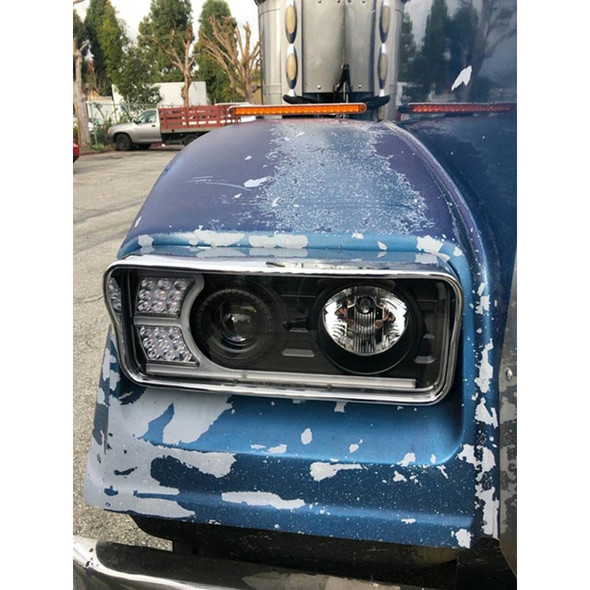 Freightliner Classic Blackout Projector Headlights With LED Amber Turn Signal & White Daylight Running Light