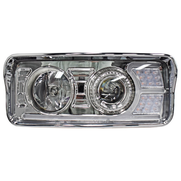 Kenworth T600 T800 W900 Chrome Projector Headlights With LED Amber Turn Signal & White Daylight Running Light- Driver Side