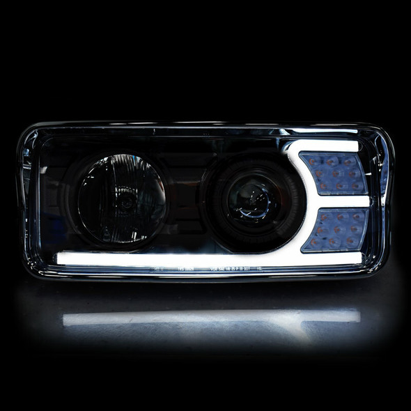 Kenworth T600 T800 W900 Blackout Projector Headlights With LED Amber Turn Signal & White Daylight Running Light (Drive Lights)