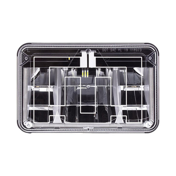 """Rectangular Heated Polycarbonate Light 4""""x6"""" High Power LED Low Beam Front View"""