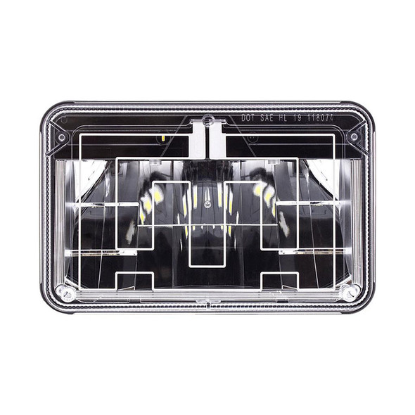 """Rectangular Heated Polycarbonate Light 4""""x6"""" High Power LED High Beam Front View"""
