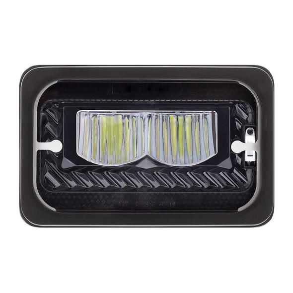 "4""x6"" High Power LED Heating Light Black High Beam Front View"