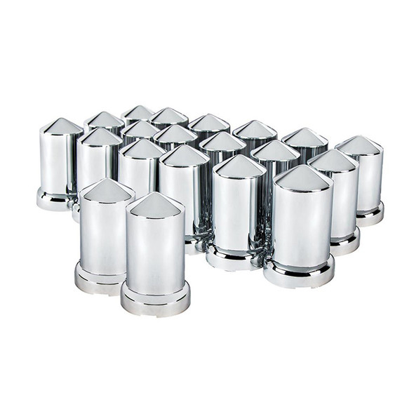 20 Pack of Chrome 33mm Push On Pointed Nut Covers