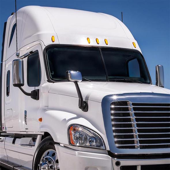 Freightliner Cascadia 12 LED Amber Lens Cab Light On Truck View