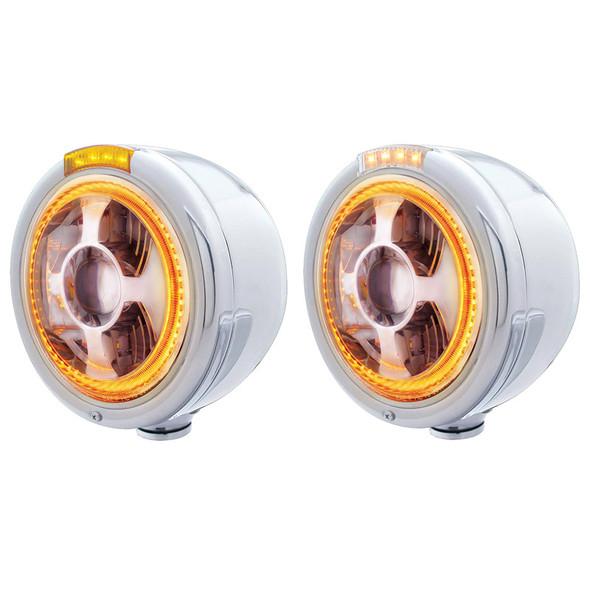 Stainless Steel Bullet Half Moon Headlight LED Projection Headlight And Turn Signal