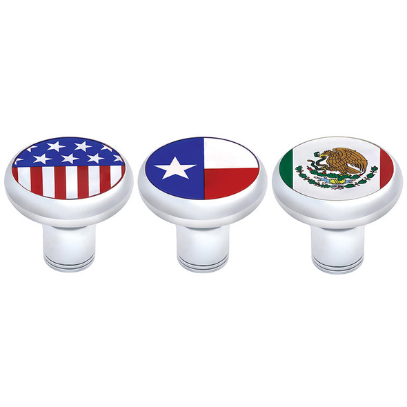 """Chrome Plated 1/2""""-13 Thread-On Flags Gearshift Knob - Without Adapters"""