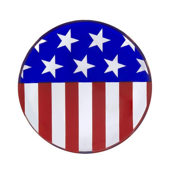 "1-3/4"" Round Glossy US Flag Sticker"