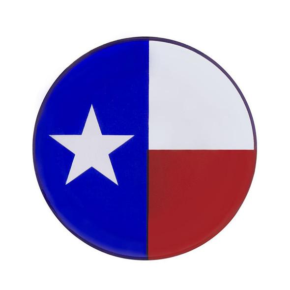 "1-3/4"" Round Glossy Texas Flag Sticker"