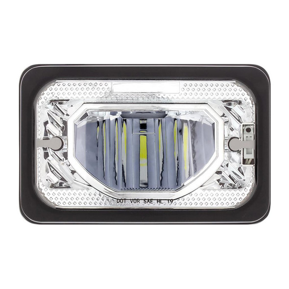 """4""""x6"""" High Power LED Heating Light Chrome Low Beam Front View"""