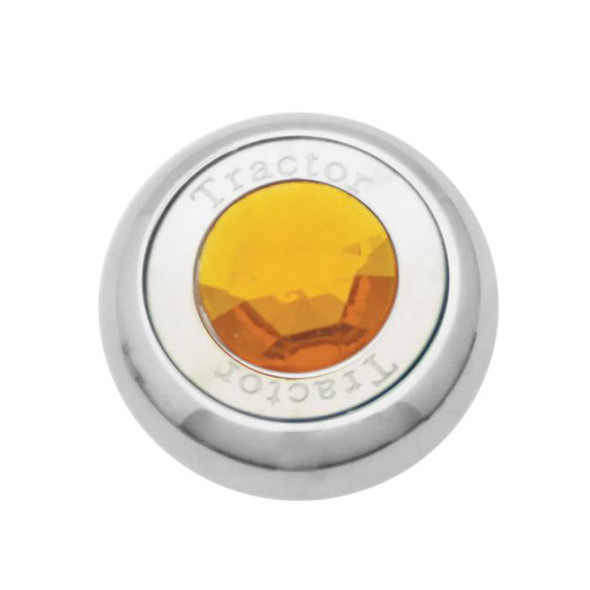 Chrome Tractor Trailer Air Brake Knob With Colored Diamond - Amber