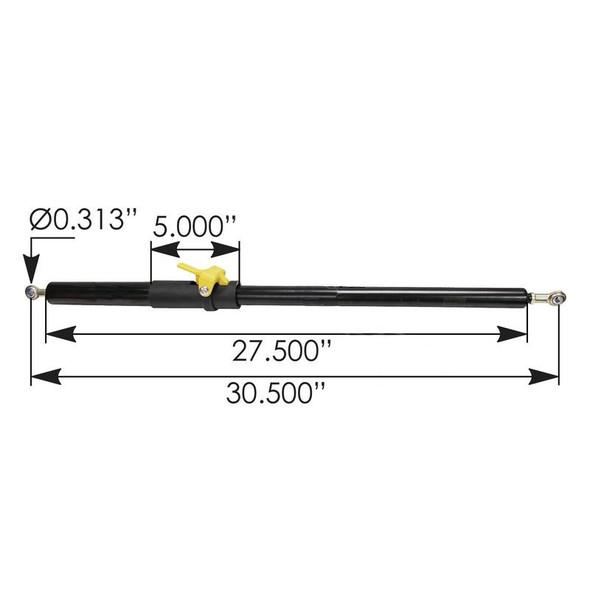 Kenworth T680 and Peterbilt 579 Hood Assist Strut Measurements