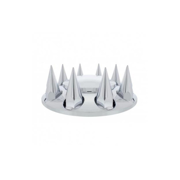 Chrome Pointed Front Axle Cover with 33mm Thread-On Lug Nut Covers Side Product View