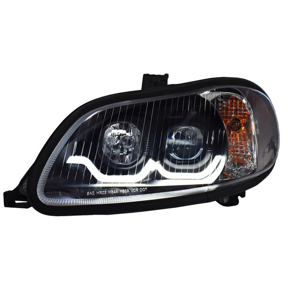Freightliner M2 Blackout Projector Headlight Pair With Dual Function Sequential LED Light Bar - Driver Side