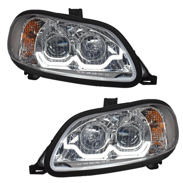 Freightliner M2 Projector Headlight Pair With LED Dual Function Sequential Light Bar