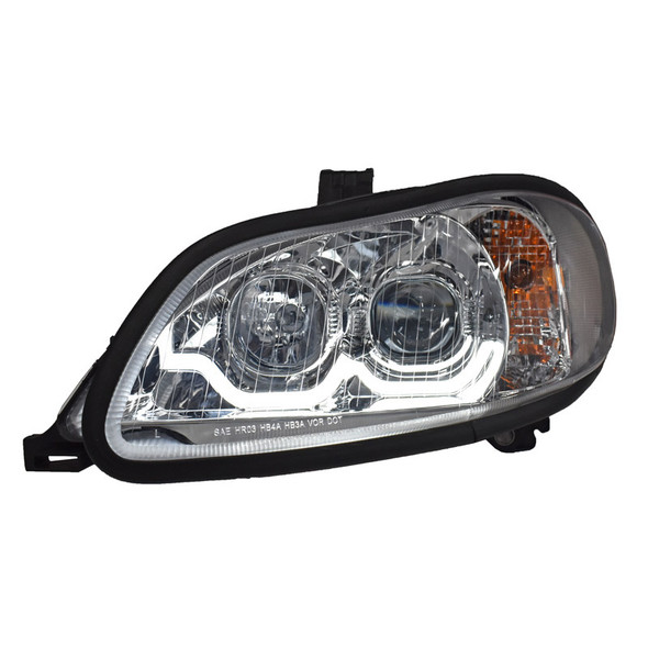 Freightliner M2 Projector Headlight Pair With LED Dual Function Sequential Light Bar - Driver Side