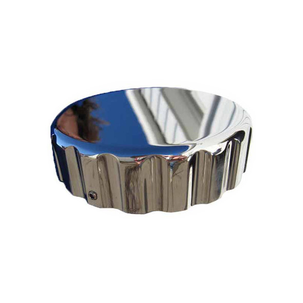 Lifetime Chrome Billet Kenworth Fuel Cap Cover With Ribbed Edge