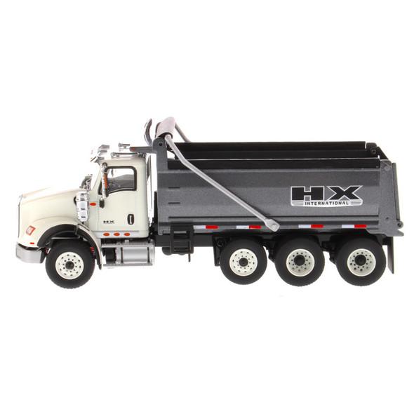 International HX620 Dump Truck With Gun Metal Grey Dump Bed Driver View