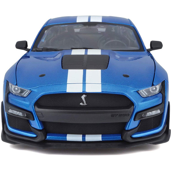 2020 Mustang Shelby GT 500 Blue With White Racing Stripes Front View