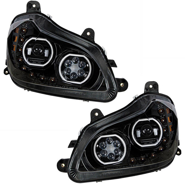 Kenworth T680 Blackout Headlight With Halo LED And Sequential Light Bar (Complete Set)