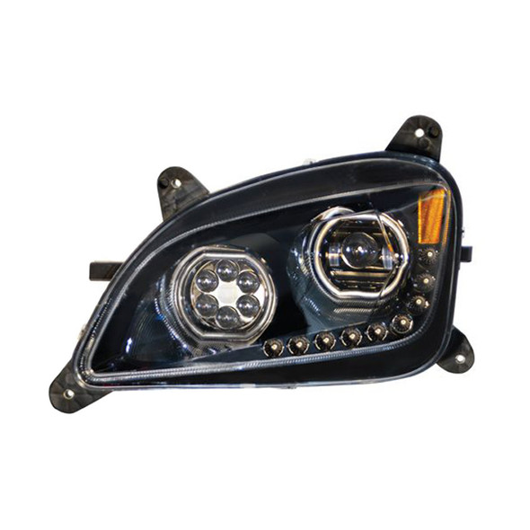Peterbilt 579 587 Blackout Headlight With LED Halo Position Rings - Driver Side