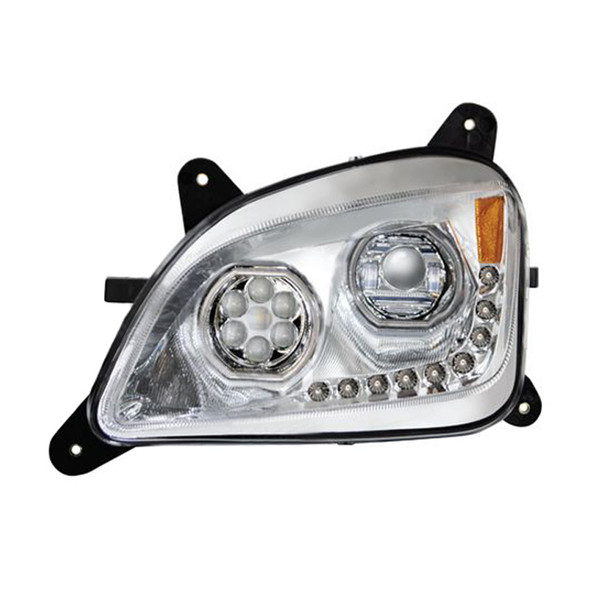 Peterbilt 579 587 Chrome Headlight With LED Halo Position Rings - Driver Side