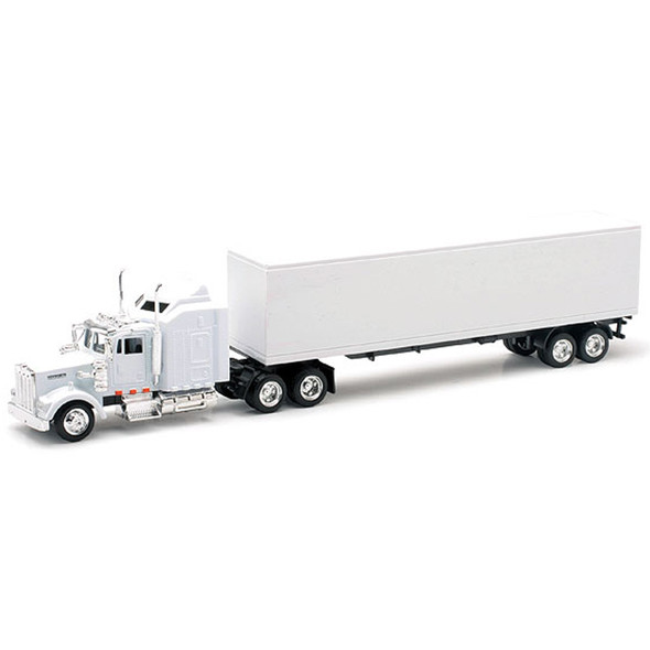 Kenworth W900 White Long Hauler With Dry Van Trailer Replica