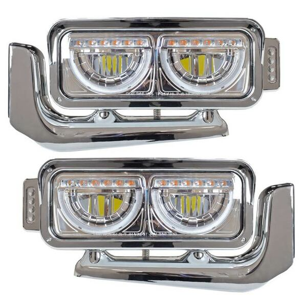 Peterbilt Chrome Dual Function Headlight Assembly With Mounting Arm - Both Sides