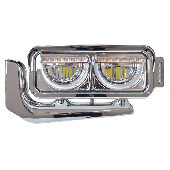 Peterbilt Chrome Dual Function Headlight Assembly With Mounting Arm - Driver Side